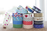 Front view of some washi tape rolls