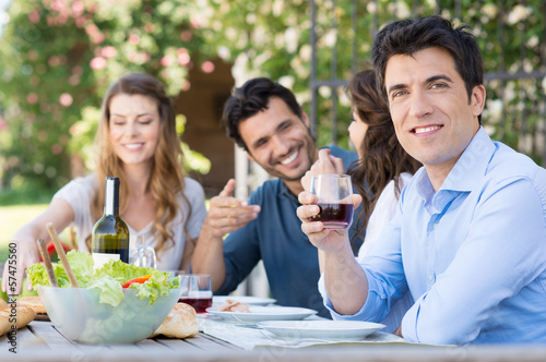 Man Drink Glass Of Wine