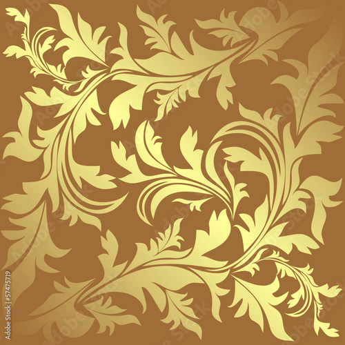 Luxury ornamental golden Background with floral elements
