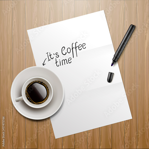 Coffee time, vector Eps10 image.
