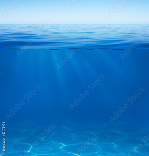 Tuinposter Koraalriffen sea or ocean water surface with underwater split by waterline