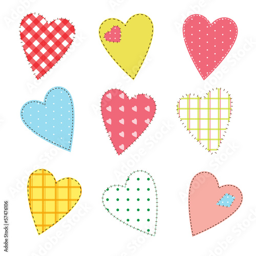 Set of cute stitched hearts with seamless patterns
