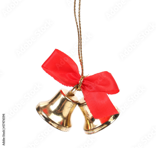 Two christmas bells with red ribbon.