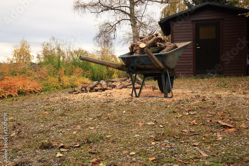 wheelbarrow with firewood