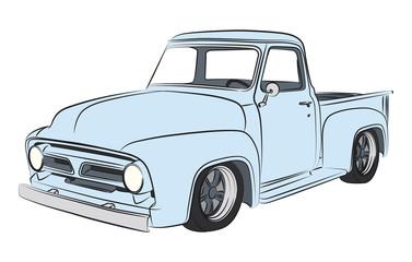 Old pickup coloured digital drawing