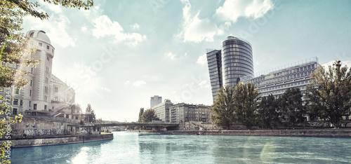 Foto Spatwand Wenen Danube Canal of Vienna - Austria