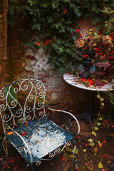 evening in autumn garden