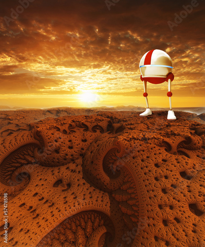 Virtual landscape with sunset and robot