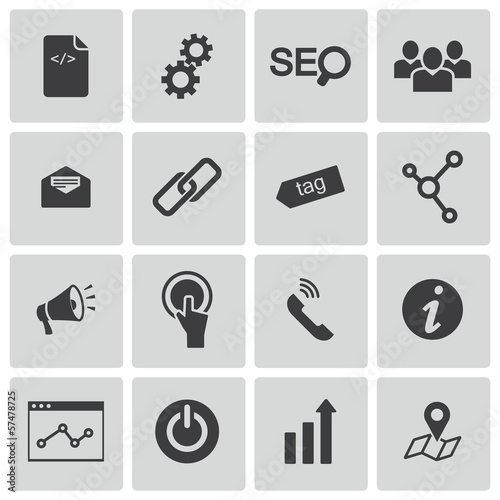 Vector black seo icons set