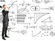 Businessman writing math