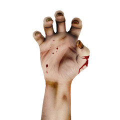 Zombie clawed old hand with blood