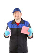 Man with cleaning supplies.