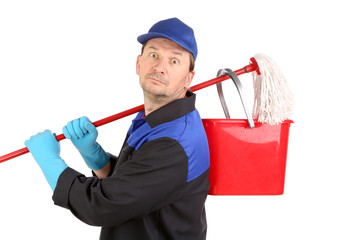 Man holding broom and bucket.