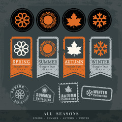 four seasons symbol vector illustration for postage stamp label