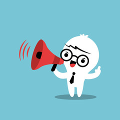Business cartoon character with megaphone make an announcement
