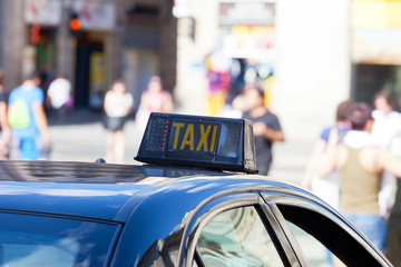 picture of a taxi shield in Barcelona