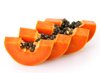 fresh ripe juicy papaya slice on white background