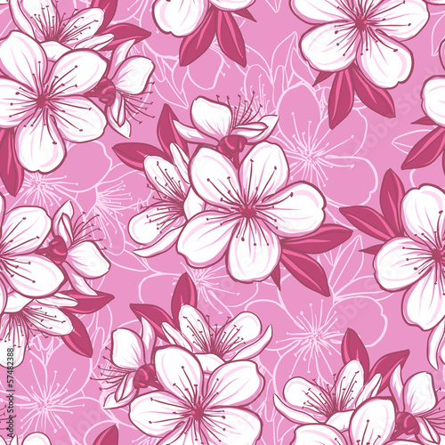 Wall mural Seamless pattern with cherry blossom