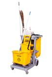 yellow janitor cart