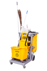 yellow janitor cart