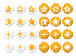 Gold stars vector round icons set