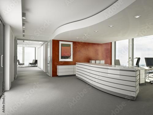 Büro Empfang mit roter Wand - 57483950