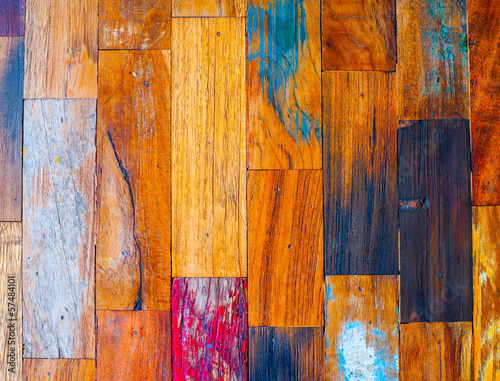 Colorful stylish old wooden parquet staves texture background. - 57484101