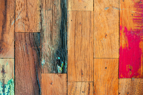 Colorful stylish old wooden parquet staves texture background. - 57484110