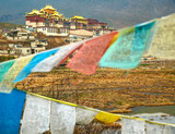 Landscape with tibetan monastery and flags
