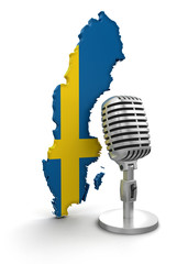 Microphone and Sweden (clipping path included)