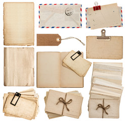 set of old paper sheets, book, envelope, postcards, tags