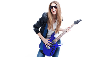 young beautiful woman whith electric guitar