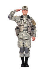 U.S. soldier salutes