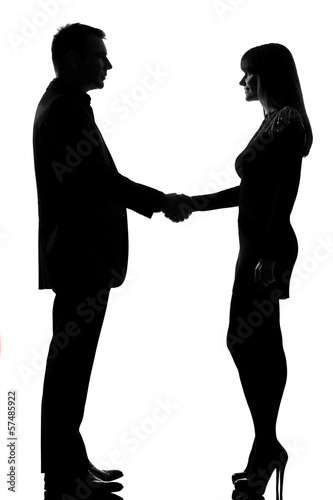one couple man and woman handshake
