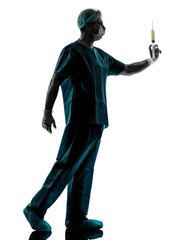 doctor surgeon Anesthetist man holding surgery needle silhouette
