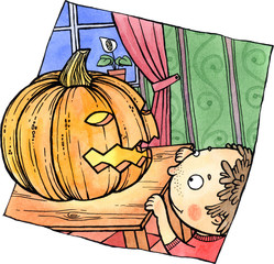 Little child is looking at a Halloween's pumpkin