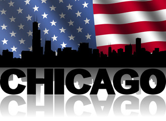 Chicago skyline text rippled American flag illustration