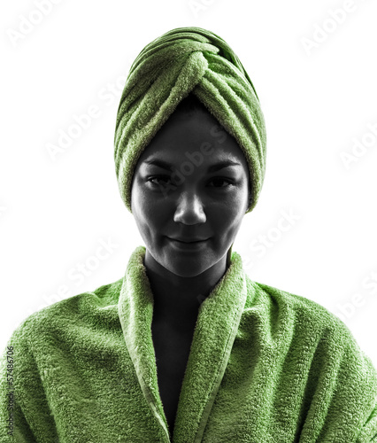 woman wrapped in towel portrait silhouette