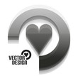 Grey 3d vector heart design