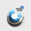 Vector 3d glossy arrow circle hi-tech concept