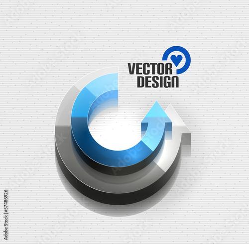 Vector 3d glossy arrow circle hi-tech concept