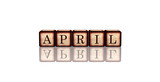 april in 3d wooden cubes