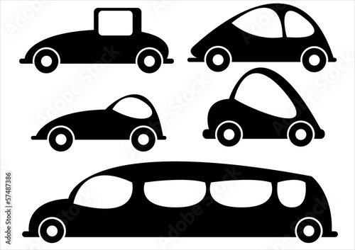 car icons isolated on white background