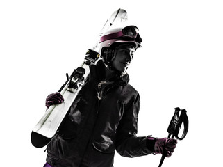 one woman skier portrait  silhouette