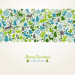 Weihnachtliche Karte aus vielen Symbolen
