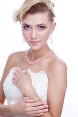 Beautiful bride isolated on white