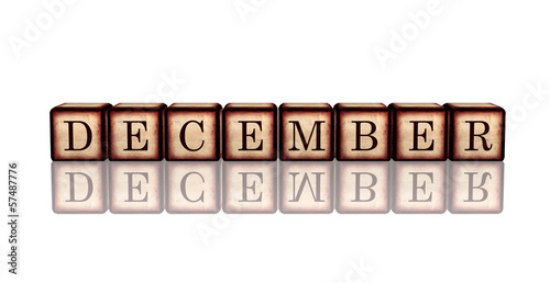 december in 3d wooden cubes