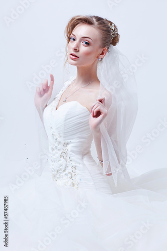 Bride portrait.Wedding dress. Studio shot.