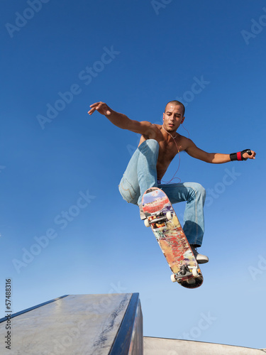 boy flying on a skateboard