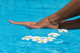 Spa Legs with Frangipani flowers